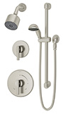 Symmons 3505-H321-V-CYL-B-STN - Dia shower system with lever handle. Symmons Temptrol Pressure- Balancing mixing valve.