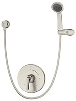 Symmons 5503-STN - Symmons Elm shower system with lever handle. Symmons Temptrol Pressure- Balancing mixing valve. Three mode wall/hand shower with flexible metal hose