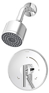 Symmons S-3501-CYL-B - Dia shower system with lever handle and secondary integral volume control handle. Symmons Temptrol Pressure-Balancing mixing valve. Single mode showerhead with arm and flange.