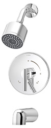 Symmons S-3502-CYL-B - Dia tub/shower system with lever handle and secondary integral diverter/volume control handle. Symmons Temptrol Pressure-Balancing mixing valve.